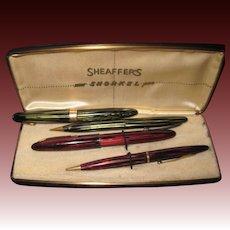 2 Sets Sheaffer Pen & pencil Sets 1 snorkel 14k tip Free P&I US Buyers
