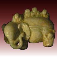 Wonderful Asian Carved Soapstone Elephant  Free P&I US Buyers