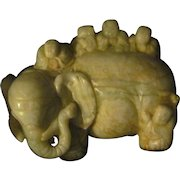 Wonderful Asian Carved Soapstone Elephant  Free P&I US Buyers