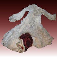Lovely Victorian Delicate embossed white doll dress & stylish velvet hat Fee P&I US buyers