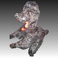 """Awesome 12"""" Black Mohair YES/NO Poodle Dog  Free P&I US Buyers"""