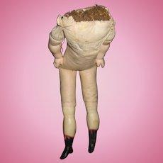 "15"" Antique  Wax Papier Mache Cloth Doll Body Free P&I US Buyers"