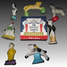 Vintage 7 Wonderful Bisque CIRCUS Birthday Cake Candle Holders Free P&I US Buyers
