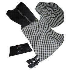 Awesome Pretty as a Picture Barbie Black & White Check Vintage doll outfit free P&I US Buyers