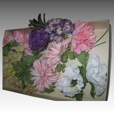 Wonderful Box of Vintage Floral Corsages for dolls or Trim Free P&I US Buyers