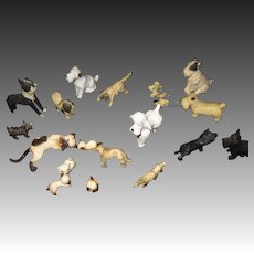 Group of miniature Cats & Dogs for Doll House Free P&I US Buyers