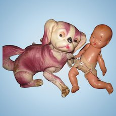 So Cute Celluloid Baby doll & Pickenese prt Free P&I US Buyers