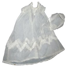 Dotted Swiss Christening Dress & Bonnet for Dy Dee Doll & other babies Free P&I US buyers
