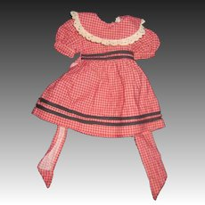 Red Check Dress for 40''s or 50's vintage doll Free P&I US Buyers