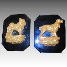 House of David Art Deco Blue Glass Dog Plaques Free P&I US Buyers