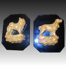 House of David Art Deco Blue Glass Dog Plaques Free P&I US Buyers