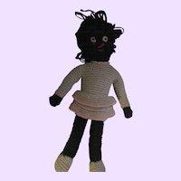 "Sweet 14"" Black Americanna Knit Doll Free P&I US Buyers"