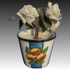 Lovely Miniature Limoges Flower pot porclain flowers Free P&I US buyers