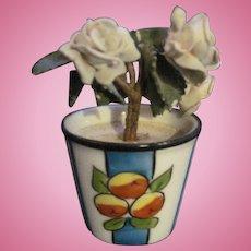 Lovely Miniature Limoges Flower pot porclain flowers Free P&I US buyers