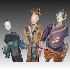 3 Wonderful Chinese Opera dolls for parts and restoration Free P&I US Buyers