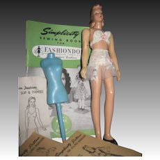 """Vinytage 12"""" Sewing Mannequin doll With Patterns Free P&I US Buyers"""