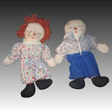 "Wonderful 13"" Raggedy Ann & Anddy Asleep Awake Doll Free P&I US Buyers"