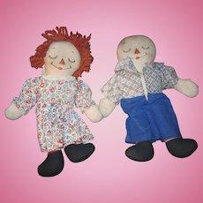 "Wonderful 13"" Raggedy Ann & Anddy Asleep Awake Doll Free P&I US Buyers"
