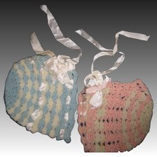2 knit doll bonnets for lrger bby doll Free P&I US Buyers
