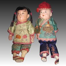 "Sweet Pair of Vintage 7"" Asian dolls Asian dolls Free P&I US Buyers"