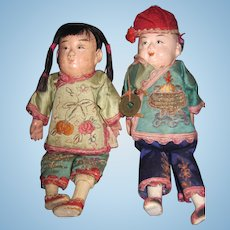"""Sweet Pair of Vintage 7"""" Asian dolls Asian dolls Free P&I US Buyers"""
