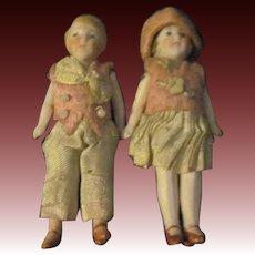 "Two wonderful 3"" doll house miniature Flapper Dolls Free P&I US Buyers"