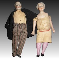 "4.5"" German Bisque Grandma & Pa DOll house miniature  free P&I US Buyers!"