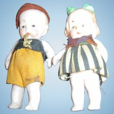 2 Adorable all bisque Boy & Girl doll house dolls Free P&I US BUyers