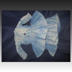 Indigo Blue layered ruffles dress for smaller China or bisque dolls. Free P&I US buyers