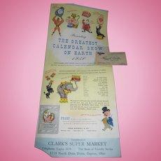 1950 Ringling Bros Circus Calendar Advertising Free P&I US Buyers