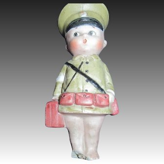 """4.6""""  All Bisque German Googly  Army Medic  damage Free P&I US buyers"""