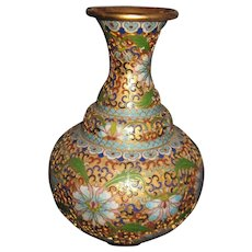 "Amazing 8"" Asian Lotus Blossom Cloisonne Vase Free P&I US Buyers"