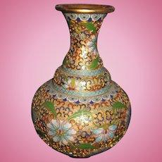 """Amazing 8"""" Asian Lotus Blossom Cloisonne Vase Free P&I US Buyers"""
