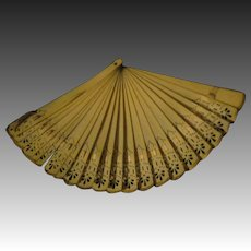 "Lovely 9"" celluoid fan for Bisque or China dolls Free P&I US Buyer!"