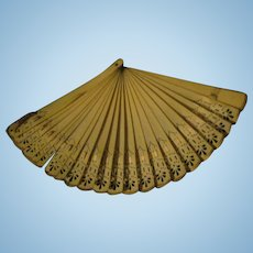"""Lovely 9"""" celluoid fan for Bisque or China dolls Free P&I US Buyer!"""