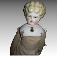 """15"""" Blonde china doll w/necklace Free P&I UD Buyers"""