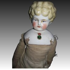 "15"" Blonde china doll w/necklace Free P&I UD Buyers"
