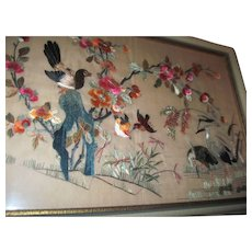 "Awesome Large 13.5"" x 20"" Asian Embroidered Birds Free P&I US Buyers"