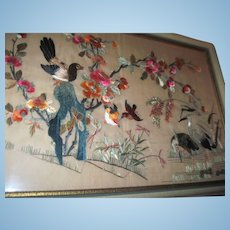 """Awesome Large 13.5"""" x 20"""" Asian Embroidered Birds Free P&I US Buyers"""
