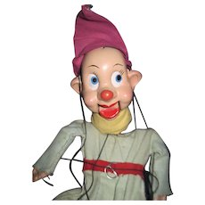 Very cute unmarked Dopey Marionette Puppet  Fee P&I US Buyer