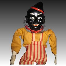 No Strings Atached Black Clown Marionette Puppet Free P&I US Buyer