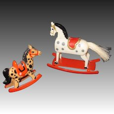 Two Miniature Plastic Rocking Horses Free P&I US Buyers