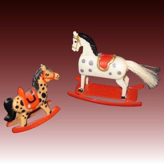 Two Miniature Plastic Rocking Horses Free P&I US Buyers