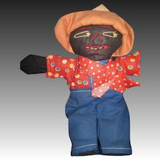 "Vintage 7"" Black Cloth farmer  Doll Free P&I US Buyer"