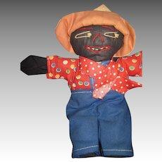 "Vintage 7"" Black Cloth farmer  Doll Free P&I US Buyer"