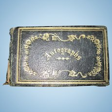 Miniature 1800's Mass autograph book for doll Free P&I US Buyers