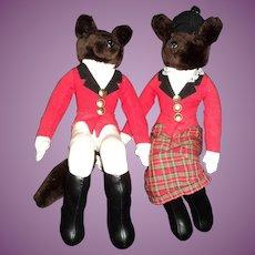 "16"" Mr & Mrs Fox Hunter Equestrian Hndford shelf sitters doll Free P&I US Buyers"