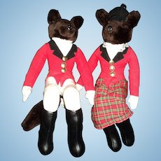 "16"" Mr & Mrs Fox Hunter Equestrian Hndford shelf sitters doll Free P&I US Buyers"