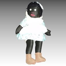 "Adorable old 14"" Cloth Blck Doll Free P&I US Buyers"