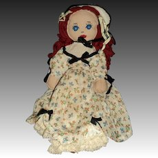 "14"" Vintage Southern Belle Cloth doll Free P&I US Buyers"